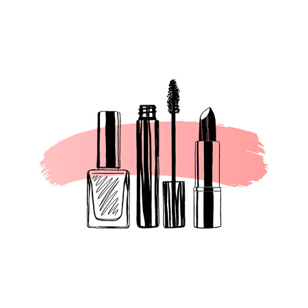 Makeup banner nail polish, mascara, lipstick. Hand drawn vector illustration