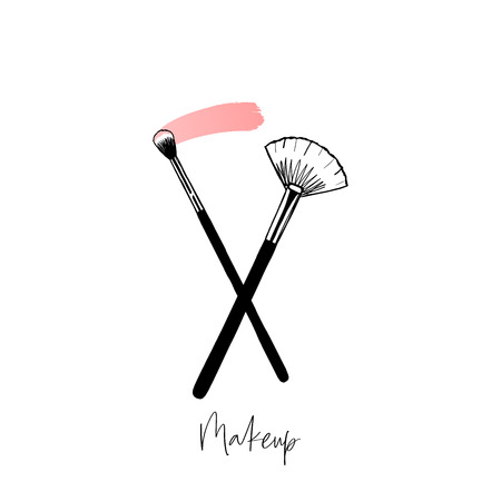 Beauty, makeup artist logo, crossed brushes vector illustration