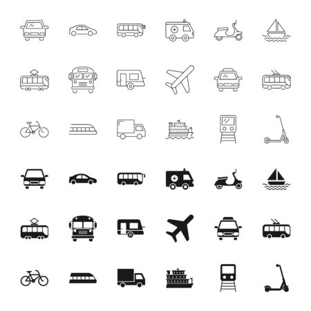 Transport silhouettes and outline icons set Vector Illustration