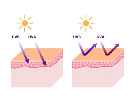 UVA and UVB radiation types, UV protection sun block vector illustration Çizim