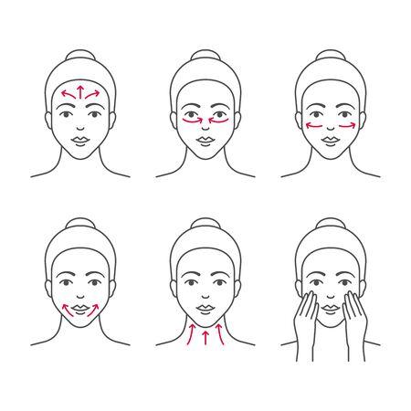 Iconos de vector de contorno de masaje facial