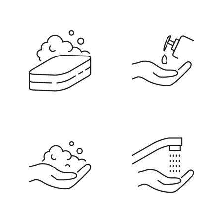 Higiene de manos, lavado de manos iconos vectoriales estilo de contorno