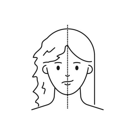 Hair treatment and care vector illustration outline style