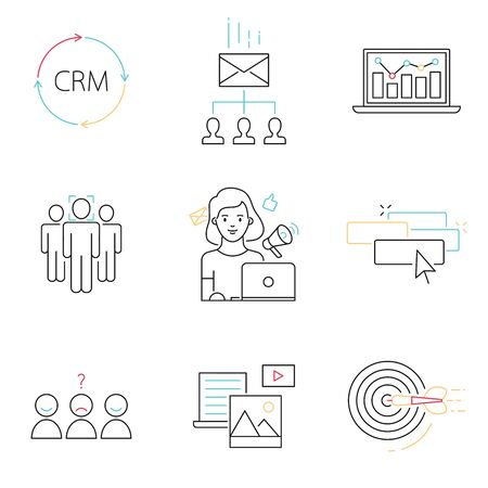 Internet marketing, SMM management set of vector icons Иллюстрация