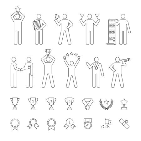 Awards, prize, winning set of vector icons outline style Banque d'images - 131938046
