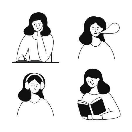 Writing, speaking, listening, reading. Woman character
