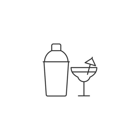 Cocktail vector icon outline style