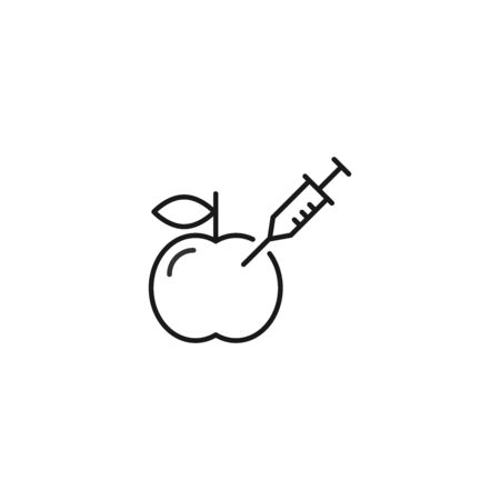 Pesticides, nitrates injected fruits vector icon outline style Çizim