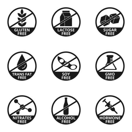 Gluten, lactose, sugar, trans fat, soy, gmo, nitrates, alcohol, hormone free signs vector set 일러스트