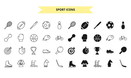 Sport silhouettes and outline style vector icons set