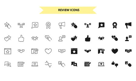 Review silhouettes and outline style vector icons set