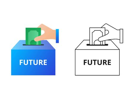 Hand putting money in the box with label Future, savings, funds vector icon