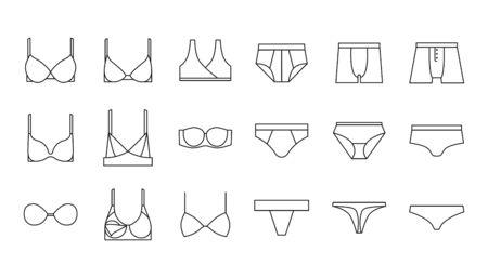 Underwear, bra, panties, lingerie vector icons set