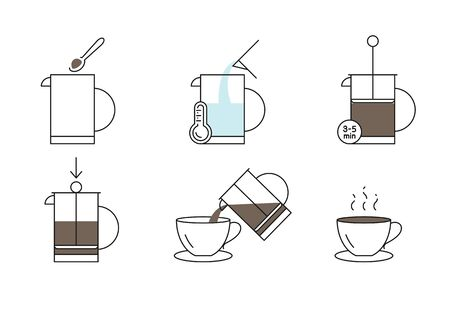 Coffee press preparation instruction vector icons set line style Ilustração Vetorial