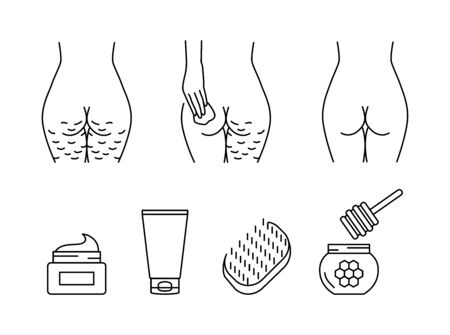 Cellulite treatment vector icons set