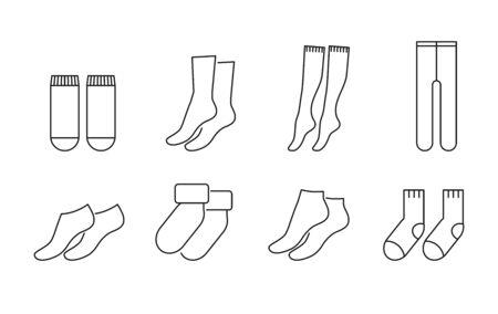 Conjunto de iconos de vector de calcetines estilo de línea Ilustración de vector