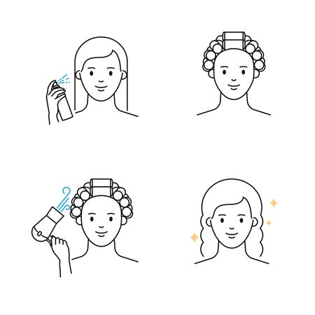 Hairstyle with hair curlers vector icons