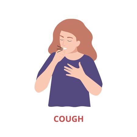 Symptômes de la maladie - toux vector illustration style plat