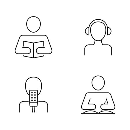Listening, reading, writing, speaking icons Banque d'images - 137564671