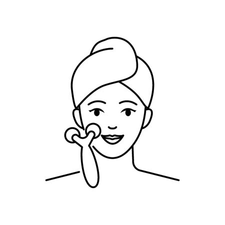 Face roller massager vector icon line style