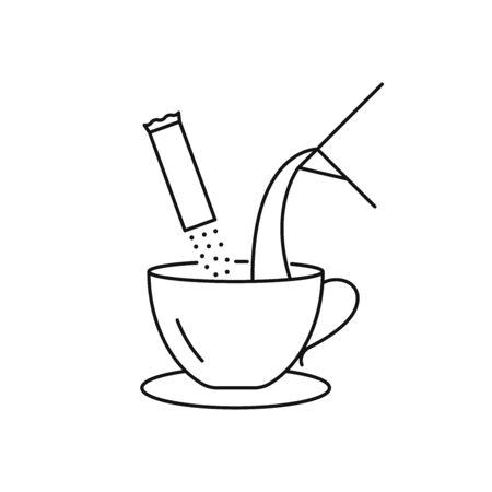 Instant coffee preparation vector icon Illusztráció