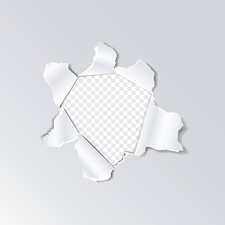 Torn paper hole with ripped edges on a transparent background
