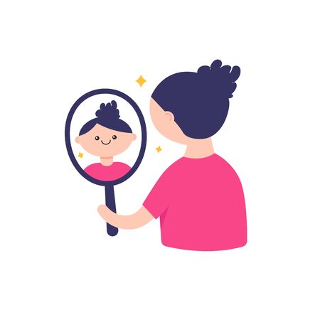 Girl looking in the mirror illustration Ilustrace