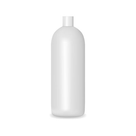 White blank bottle with cap. Shampoo, lotion, shower gel mockup.Cosmetic package template Illusztráció