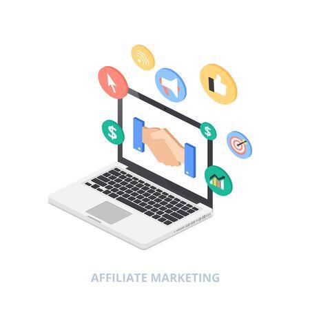 Affiliate marketing isometric style vector illustration