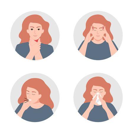 Symptoms of illness - runny nose, headache, cough, sore throat vector icons