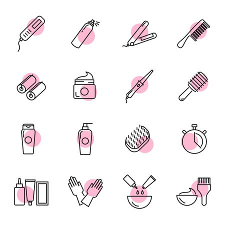 Hair care and tools vector icons