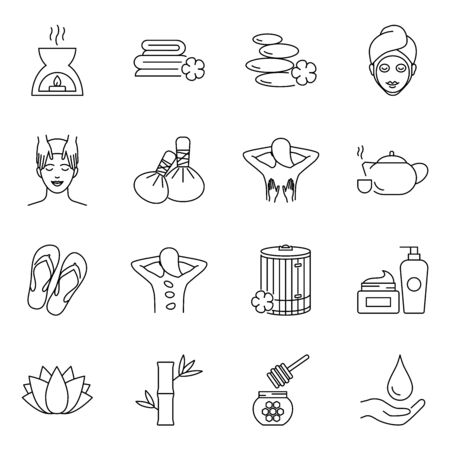 SPA and beauty vector icons set outline style