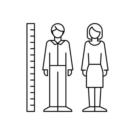 Human height measurement vector icon line style Ilustracja