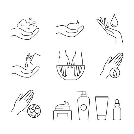 Hand care and treatment vector icons set line style Illusztráció