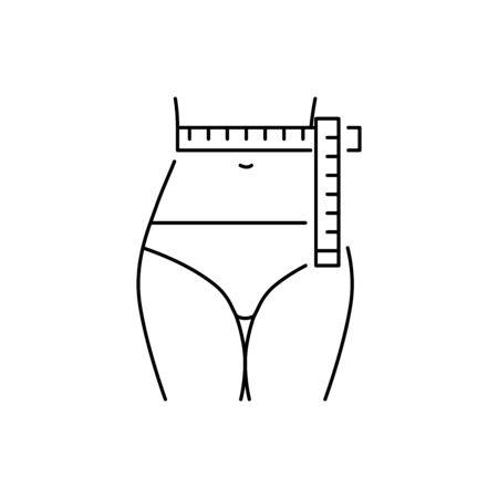 Waist measurement vector icon line style Illusztráció