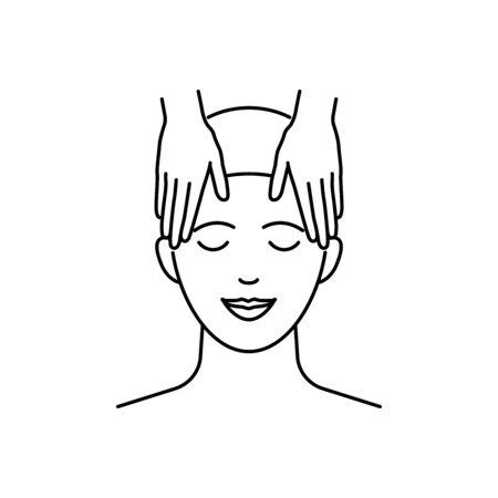 Head massage vector icons cset outline style Illusztráció