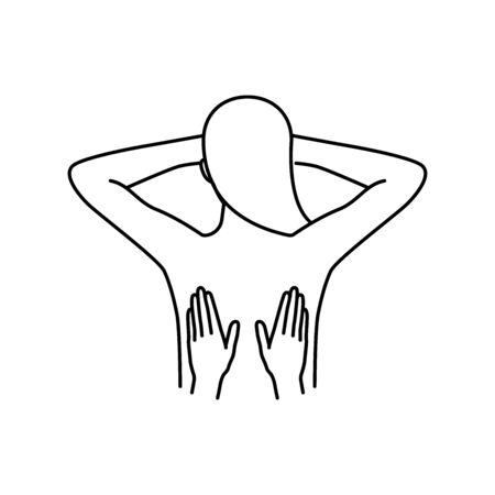 Back massage vector icons set outline style Illusztráció