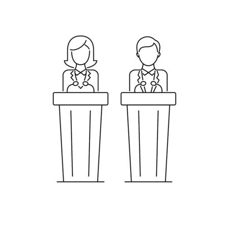 Politicians, woman and man political candidate, speakers, presentation, debat