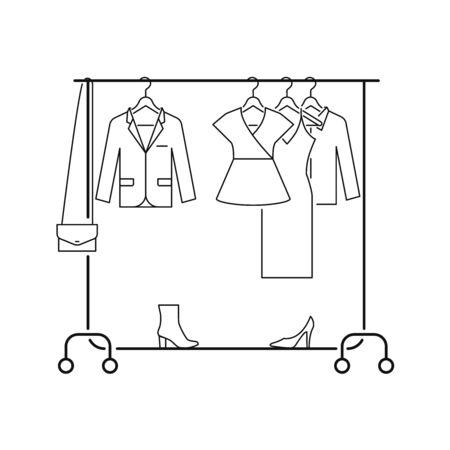 Rack floor hanger with clothes, bedroom storage, showroom line style