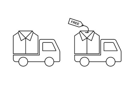 Free clothes shipping, laundry delivery vector icons line style