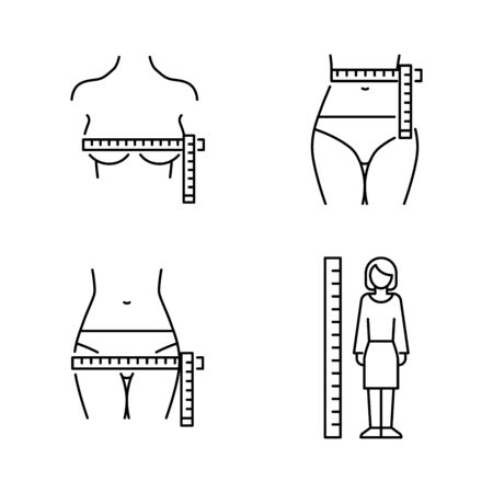Womens body measurements: chest, waist, hip. Vector icons line style
