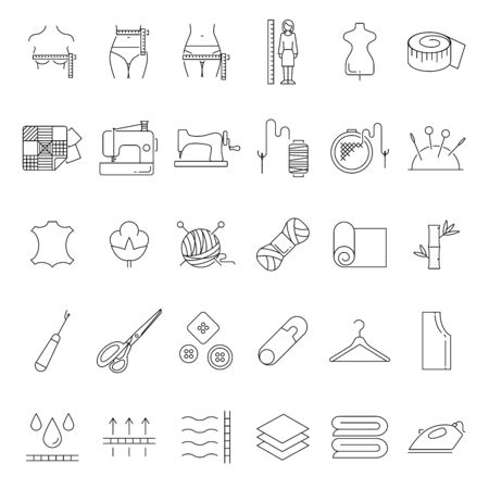 Tailoring and fashion vector icons set line style Illusztráció