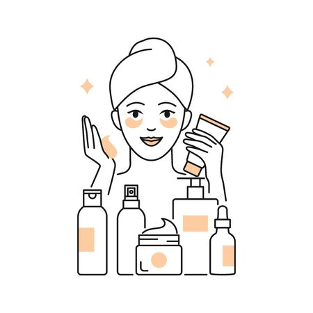 Daily skin care vector illustration line style