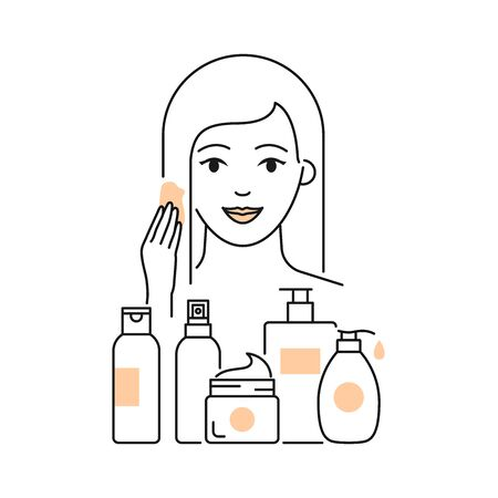 Hair care routine vector illustration