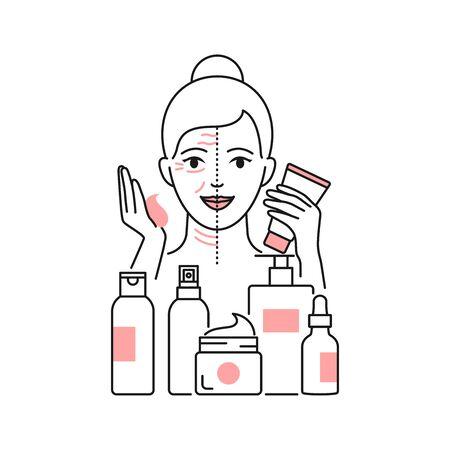 Anti-aging skin care vector illustration