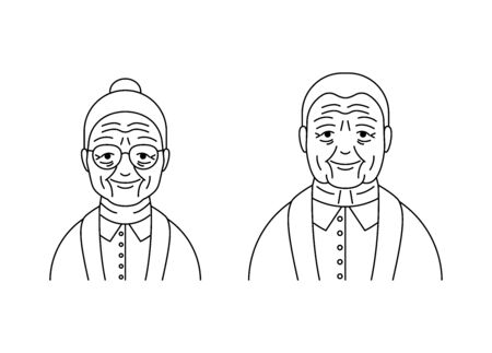 Senior people woman man vector icons line style