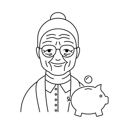Pension, retirement savings vector icon line style