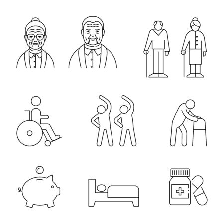Old people vector icons line style