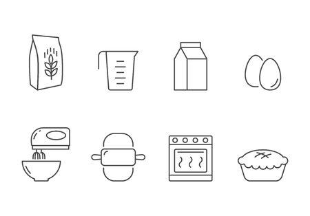 Bakery recipe and ingredients vector icons line style Illusztráció