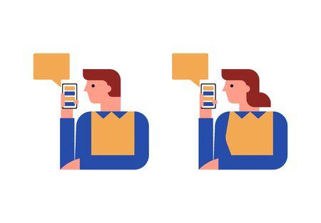 Woman and man with smartphones, chatting, messages, speech bubble Illusztráció